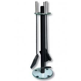 Akcesoria kominkowe czarny ze szklaną podstawą