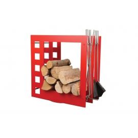 Nowoczesny czerwony stojak na drewno z przyborami - MOPO SA004R