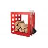Nowoczesny czerwony stojak na drewno z przyborami