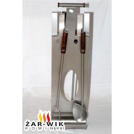 Przybory kominkowe srebrne z drewnianymi rączkami