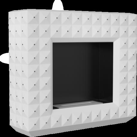 Biokominek portalowy EGZUL biały z kryształami Swarovski mat