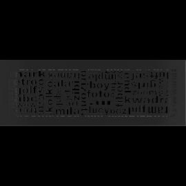 Kratka ozdobna ABC czarna 17x49