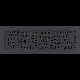 Kratka ozdobna ABC grafitowa 17x49
