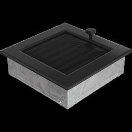 Kratka wentylacyjna czarna z żaluzją 17x17